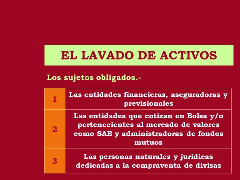 EL LAVADO DE ACTIVOS Los sujetos obligados.- 1 Las entidades financieras, aseguradoras y previsionales 2 Las entidades que cotizan en Bolsa y/o perten