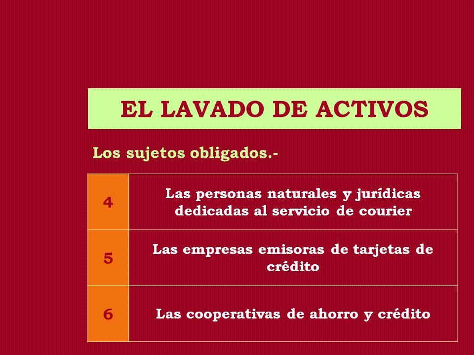 EL LAVADO DE ACTIVOS Los sujetos obligados.- 4 Las personas naturales y jurídicas dedicadas al servicio de courier 5 Las empresas emisoras de tarjetas