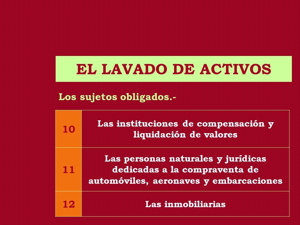 EL LAVADO DE ACTIVOS Los sujetos obligados.- 10 Las instituciones de compensación y liquidación de valores 11 Las personas naturales y jurídicas dedic