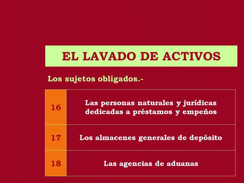 EL LAVADO DE ACTIVOS Los sujetos obligados.- 16 Las personas naturales y jurídicas dedicadas a préstamos y empeños 17 Los almacenes generales de depós