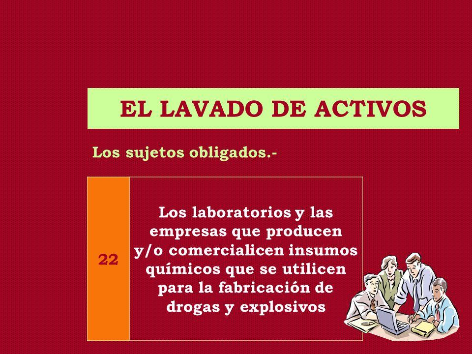 EL LAVADO DE ACTIVOS Los sujetos obligados.- 22 Los laboratorios y las empresas que producen y/o comercialicen insumos químicos que se utilicen para l
