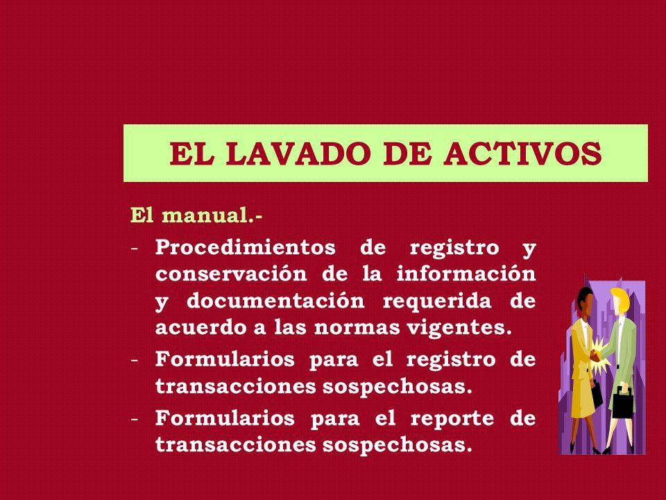 EL LAVADO DE ACTIVOS El manual.- - Procedimientos de registro y conservación de la información y documentación requerida de acuerdo a las normas vigen
