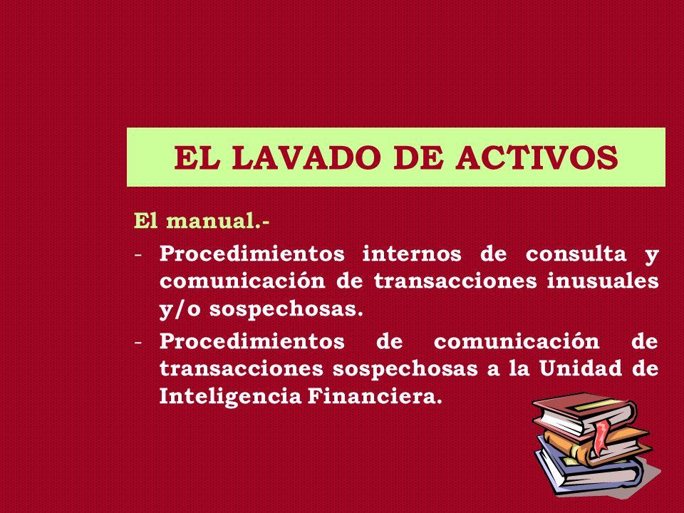 EL LAVADO DE ACTIVOS El manual.- - Procedimientos internos de consulta y comunicación de transacciones inusuales y/o sospechosas. - Procedimientos de