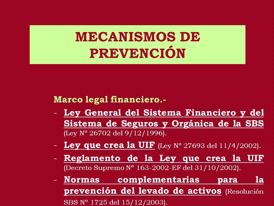 MECANISMOS DE PREVENCIÓN Marco legal financiero.- - Ley General del Sistema Financiero y del Sistema de Seguros y Orgánica de la SBS (Ley Nº 26702 del
