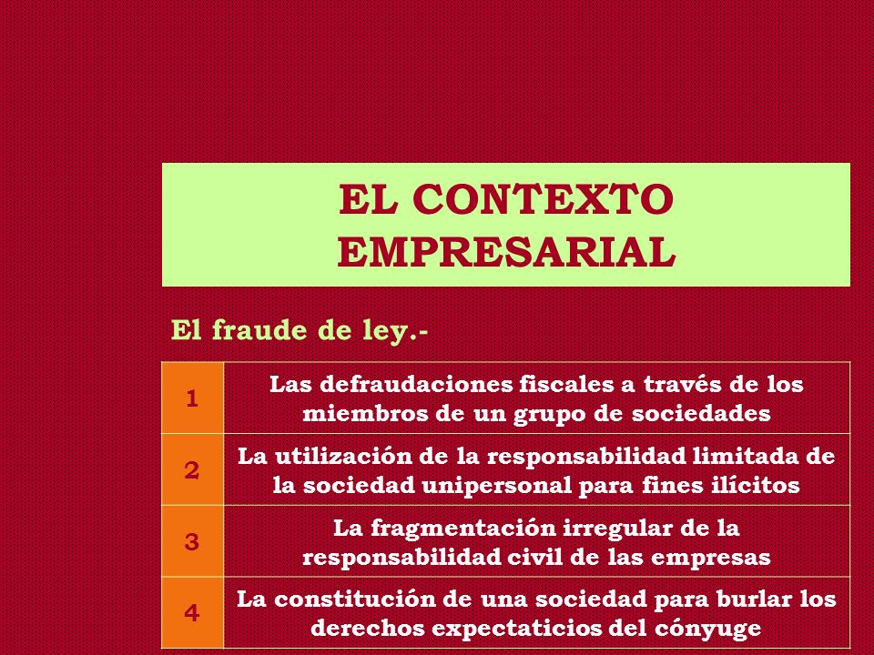 EL CONTEXTO EMPRESARIAL La legislación peruana.- - Artículo 96 del CC: El Ministerio Público puede solicitar judicialmente la disolución de la asociación cuyas actividades o fines sean o resulten contrarios al orden público o a las buenas costumbres.
