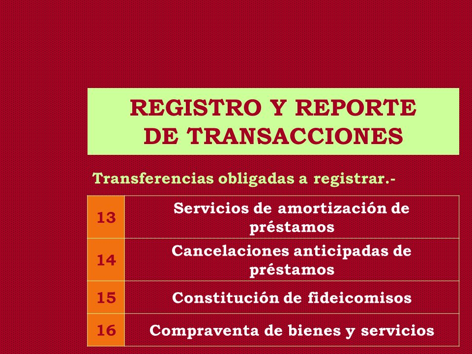 REGISTRO Y REPORTE DE TRANSACCIONES Transferencias obligadas a registrar.- 13 Servicios de amortización de préstamos 14 Cancelaciones anticipadas de p