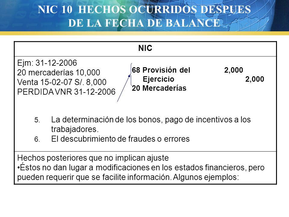 NIC 10 HECHOS OCURRIDOS DESPUES DE LA FECHA DE BALANCE NIC Ejm: 31-12-2006 20 mercaderías 10,000 Venta 15-02-07 S/. 8,000 PERDIDA VNR 31-12-2006 5. La