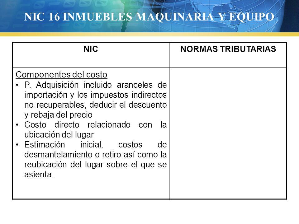 NIC 16 INMUEBLES MAQUINARIA Y EQUIPO NICNORMAS TRIBUTARIAS Componentes del costo P. Adquisición incluido aranceles de importación y los impuestos indi