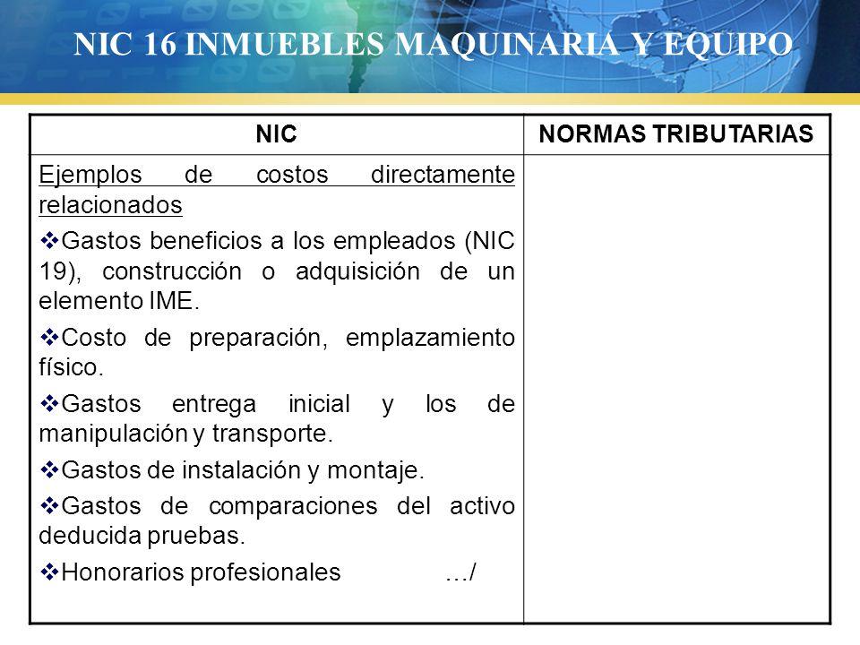 NIC 16 INMUEBLES MAQUINARIA Y EQUIPO NICNORMAS TRIBUTARIAS Ejemplos de costos directamente relacionados Gastos beneficios a los empleados (NIC 19), co
