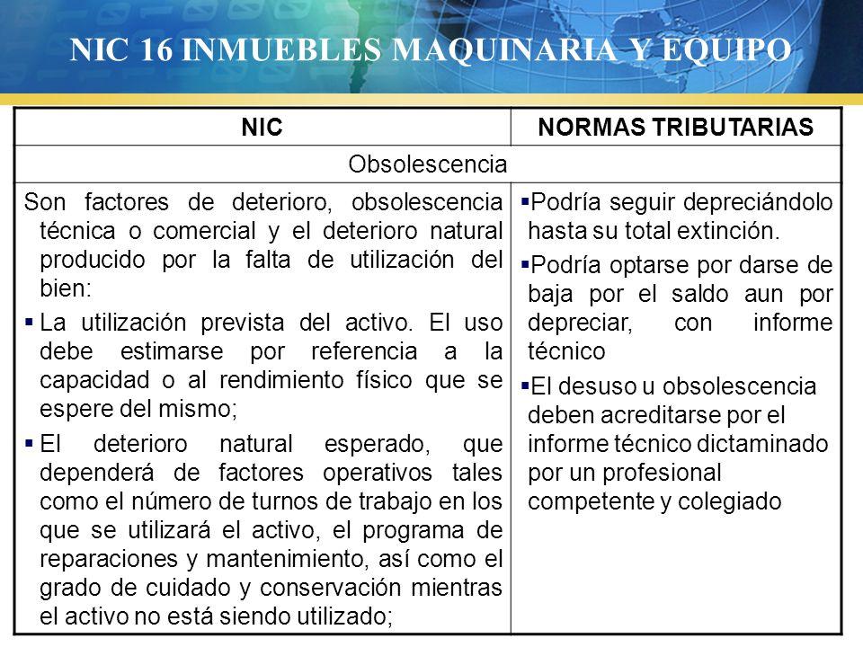 NIC 16 INMUEBLES MAQUINARIA Y EQUIPO NICNORMAS TRIBUTARIAS Obsolescencia Son factores de deterioro, obsolescencia técnica o comercial y el deterioro n
