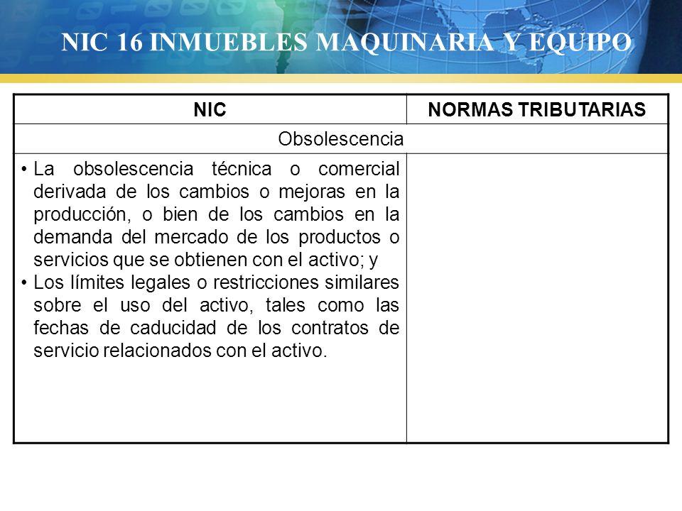 NIC 16 INMUEBLES MAQUINARIA Y EQUIPO NICNORMAS TRIBUTARIAS Obsolescencia La obsolescencia técnica o comercial derivada de los cambios o mejoras en la