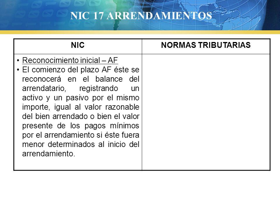 NIC 17 ARRENDAMIENTOS NICNORMAS TRIBUTARIAS Reconocimiento inicial – AF El comienzo del plazo AF éste se reconocerá en el balance del arrendatario, re