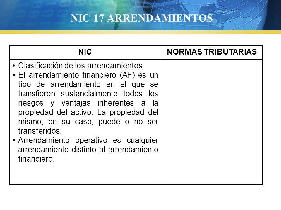 NIC 17 ARRENDAMIENTOS NICNORMAS TRIBUTARIAS Clasificación de los arrendamientos El arrendamiento financiero (AF) es un tipo de arrendamiento en el que