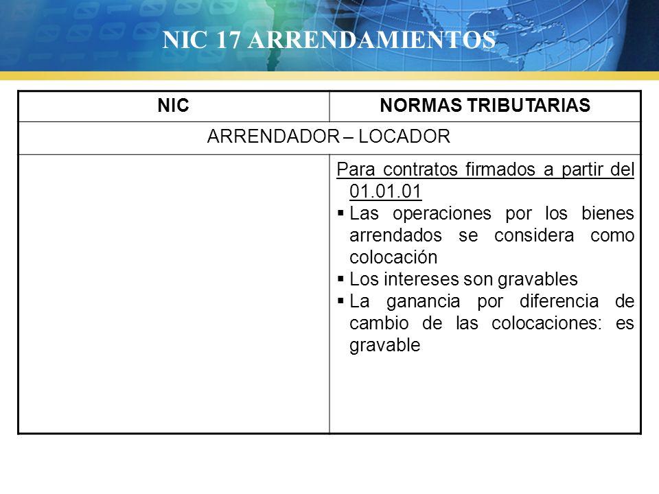 NIC 17 ARRENDAMIENTOS NICNORMAS TRIBUTARIAS ARRENDADOR – LOCADOR Para contratos firmados a partir del 01.01.01 Las operaciones por los bienes arrendad