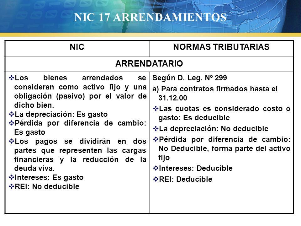 NIC 17 ARRENDAMIENTOS NICNORMAS TRIBUTARIAS ARRENDATARIO Los bienes arrendados se consideran como activo fijo y una obligación (pasivo) por el valor d