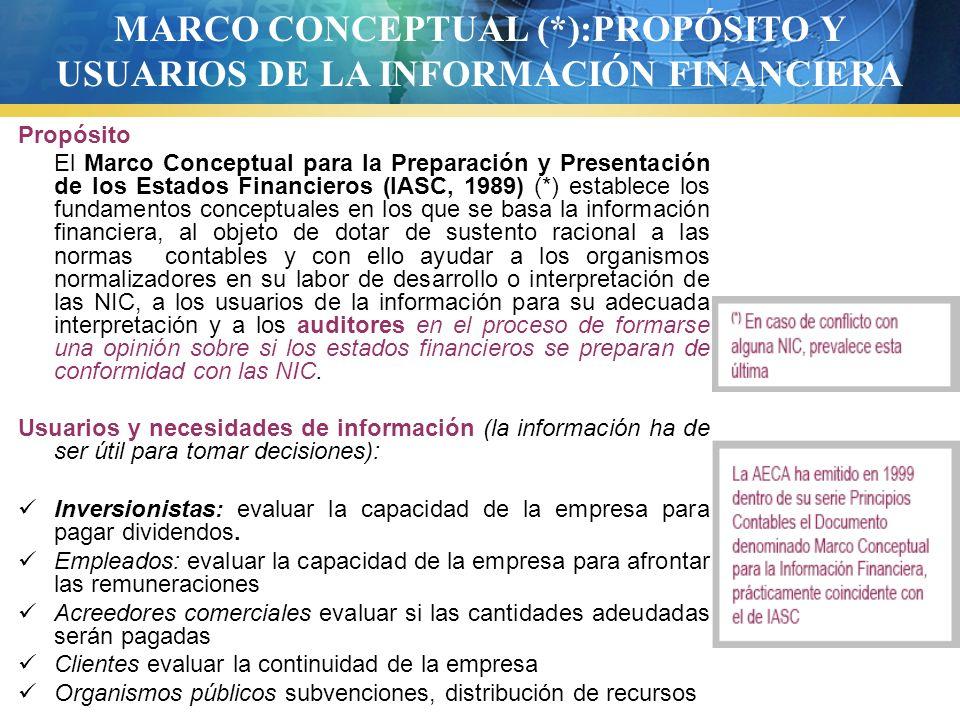 Propósito El Marco Conceptual para la Preparación y Presentación de los Estados Financieros (IASC, 1989) (*) establece los fundamentos conceptuales en