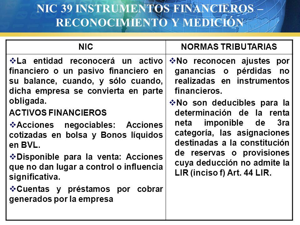 NIC 39 INSTRUMENTOS FINANCIEROS – RECONOCIMIENTO Y MEDICIÓN NICNORMAS TRIBUTARIAS La entidad reconocerá un activo financiero o un pasivo financiero en