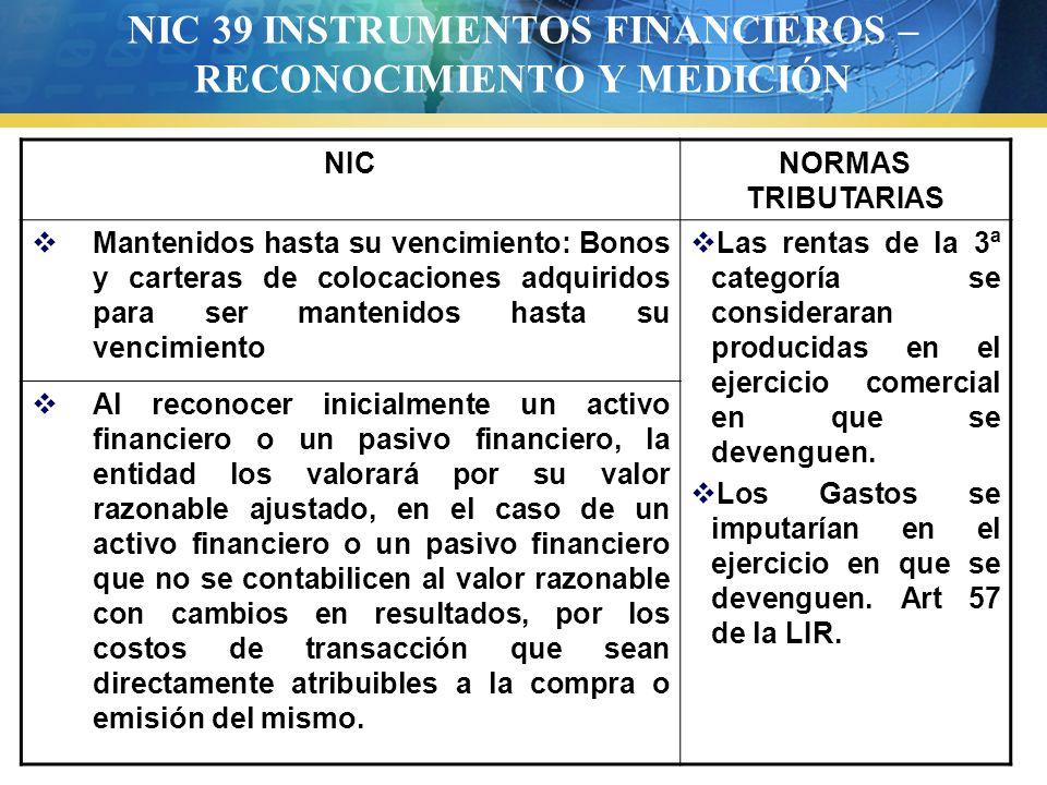 NIC 39 INSTRUMENTOS FINANCIEROS – RECONOCIMIENTO Y MEDICIÓN NICNORMAS TRIBUTARIAS Mantenidos hasta su vencimiento: Bonos y carteras de colocaciones ad