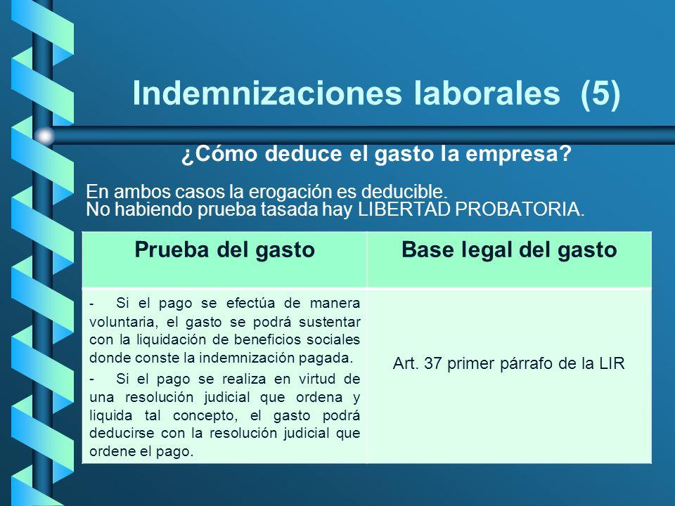 Indemnizaciones laborales (5) ¿Cómo deduce el gasto la empresa? En ambos casos la erogación es deducible. No habiendo prueba tasada hay LIBERTAD PROBA