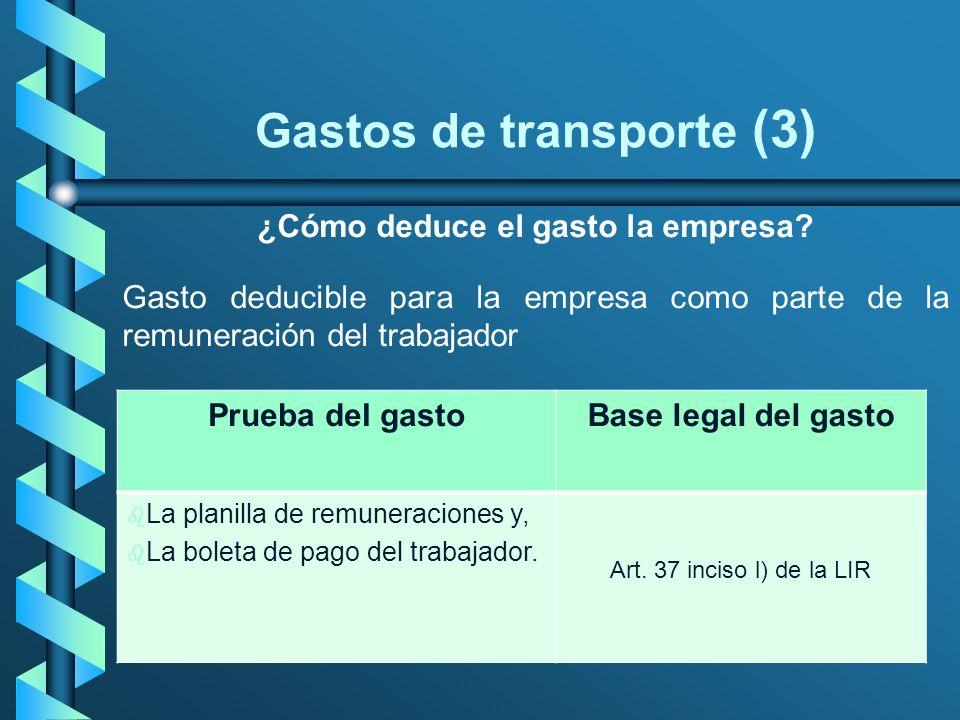 Gastos de transporte (3) ¿Cómo deduce el gasto la empresa? Gasto deducible para la empresa como parte de la remuneración del trabajador Prueba del gas