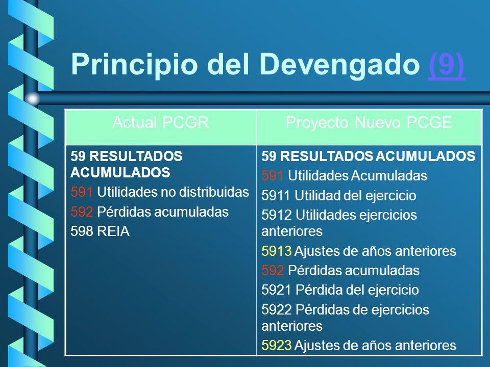 Principio del Devengado (9)(9) Actual PCGRProyecto Nuevo PCGE 59 RESULTADOS ACUMULADOS 591 Utilidades no distribuidas 592 Pérdidas acumuladas 598 REIA