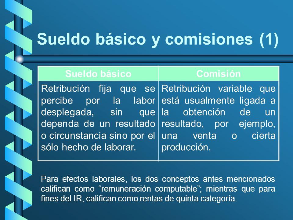Sueldo básico y comisiones (1) Sueldo básicoComisión Retribución fija que se percibe por la labor desplegada, sin que dependa de un resultado o circun