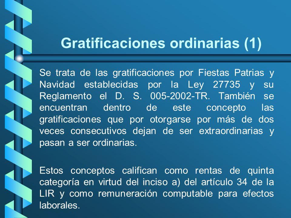 Gratificaciones ordinarias (1) Se trata de las gratificaciones por Fiestas Patrias y Navidad establecidas por la Ley 27735 y su Reglamento el D. S. 00