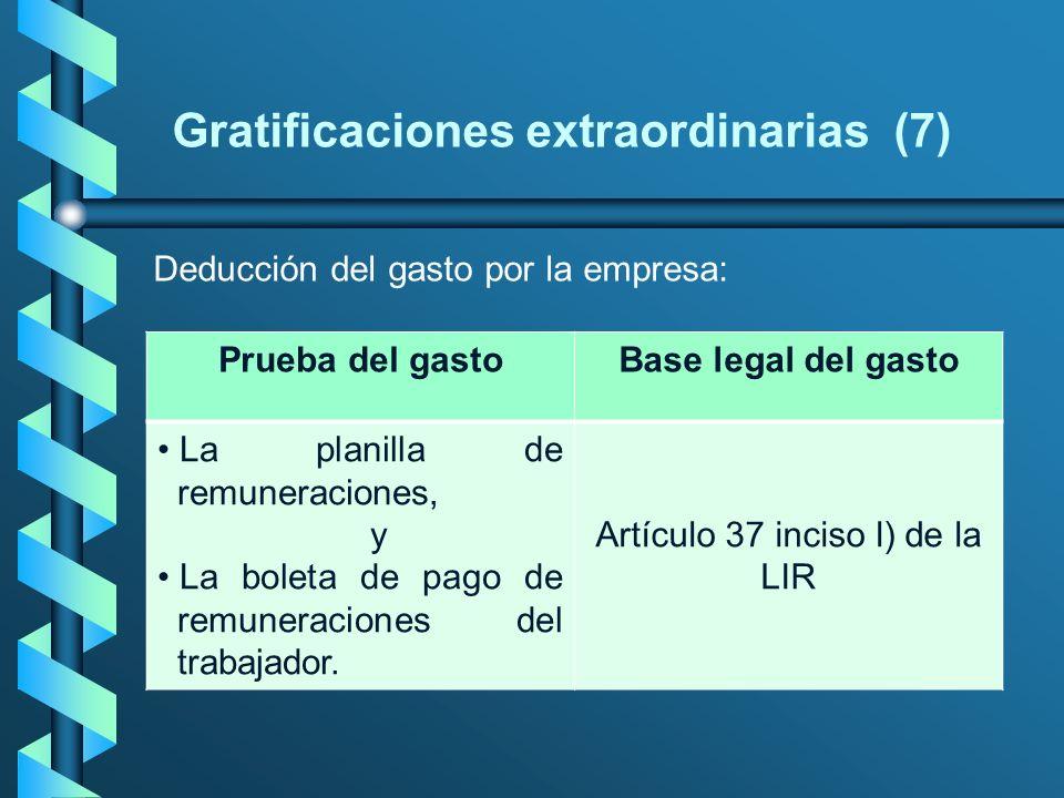 Gratificaciones extraordinarias (7) Deducción del gasto por la empresa: Prueba del gastoBase legal del gasto La planilla de remuneraciones, y La bolet