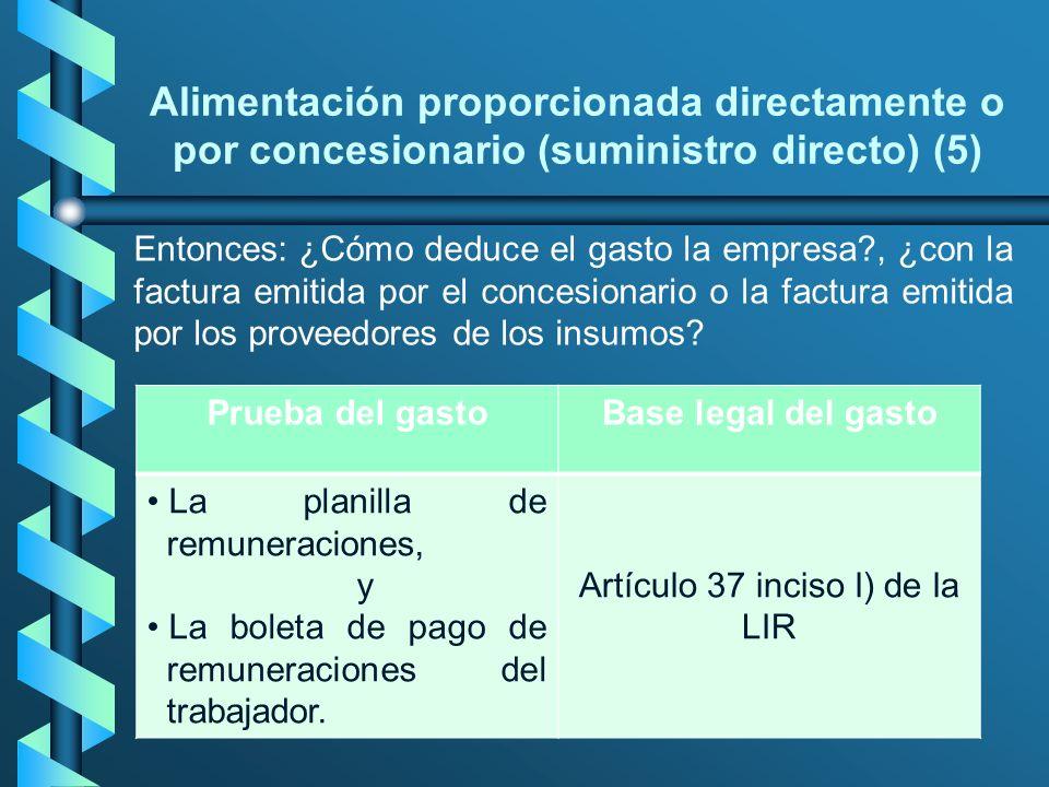 Alimentación proporcionada directamente o por concesionario (suministro directo) (5) Entonces: ¿Cómo deduce el gasto la empresa?, ¿con la factura emit