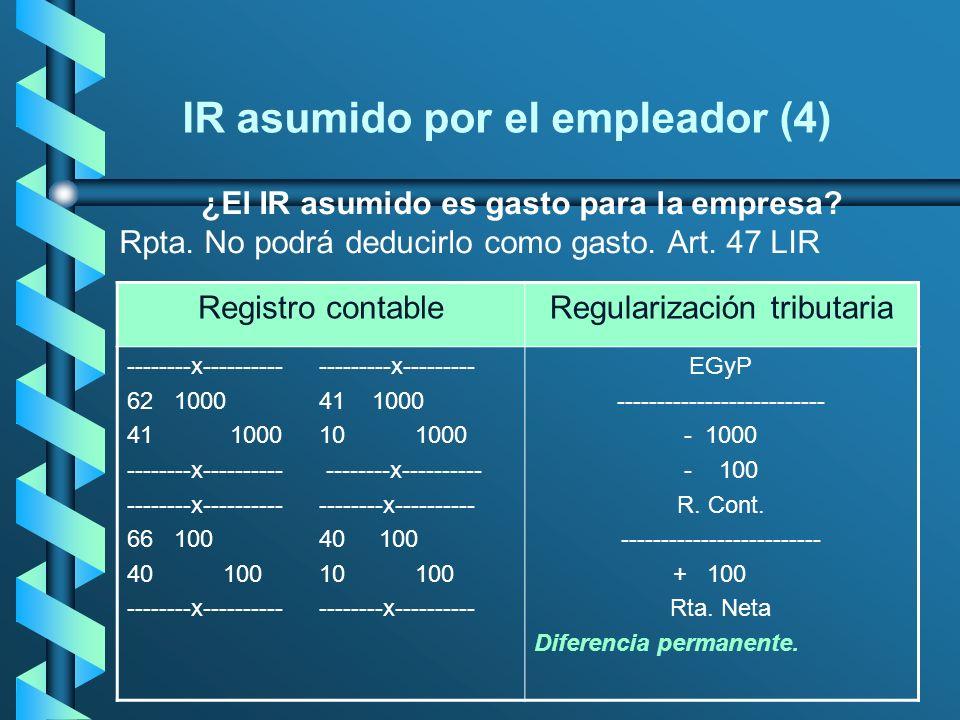 IR asumido por el empleador (4) ¿El IR asumido es gasto para la empresa? Rpta. No podrá deducirlo como gasto. Art. 47 LIR Registro contableRegularizac