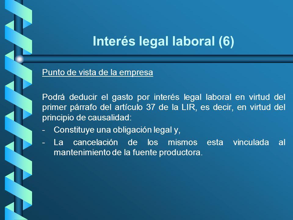 Interés legal laboral (6) Punto de vista de la empresa Podrá deducir el gasto por interés legal laboral en virtud del primer párrafo del artículo 37 d