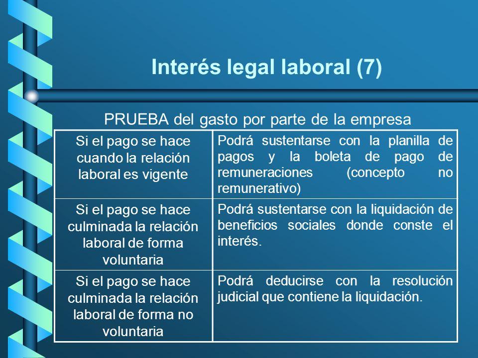 Interés legal laboral (7) PRUEBA del gasto por parte de la empresa Si el pago se hace cuando la relación laboral es vigente Podrá sustentarse con la p