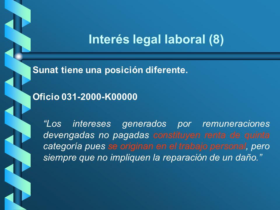 Interés legal laboral (8) Sunat tiene una posición diferente. Oficio 031-2000-K00000 Los intereses generados por remuneraciones devengadas no pagadas