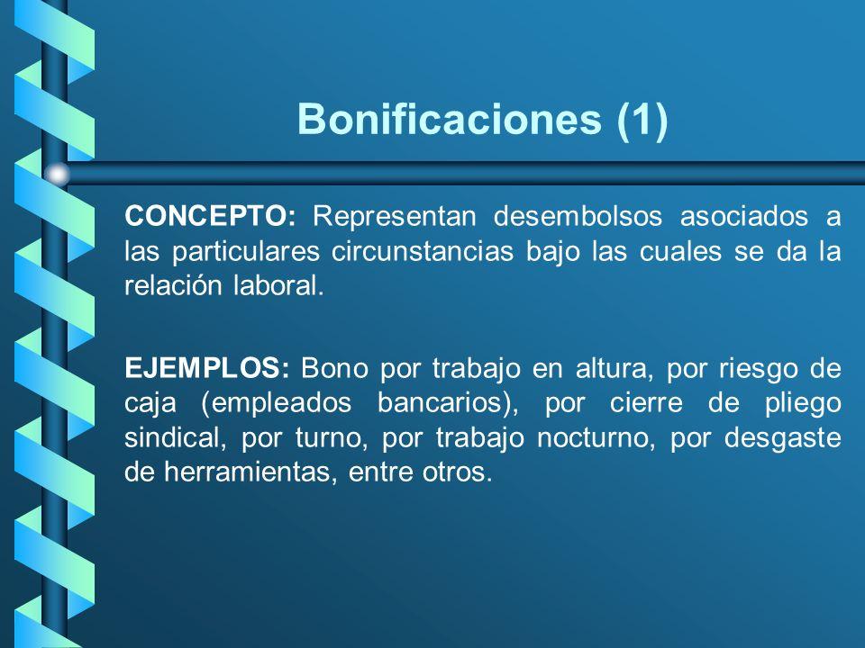 Bonificaciones (1) CONCEPTO: Representan desembolsos asociados a las particulares circunstancias bajo las cuales se da la relación laboral. EJEMPLOS: