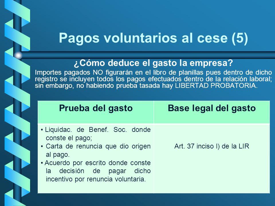 Pagos voluntarios al cese (5) ¿Cómo deduce el gasto la empresa? Importes pagados NO figurarán en el libro de planillas pues dentro de dicho registro s