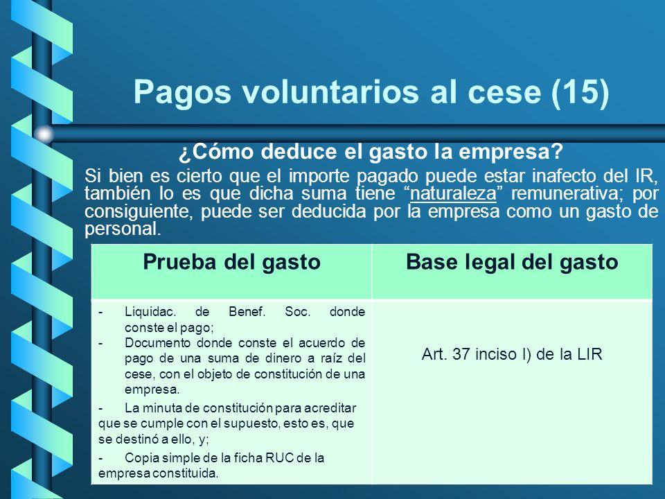Pagos voluntarios al cese (15) ¿Cómo deduce el gasto la empresa? Si bien es cierto que el importe pagado puede estar inafecto del IR, también lo es qu