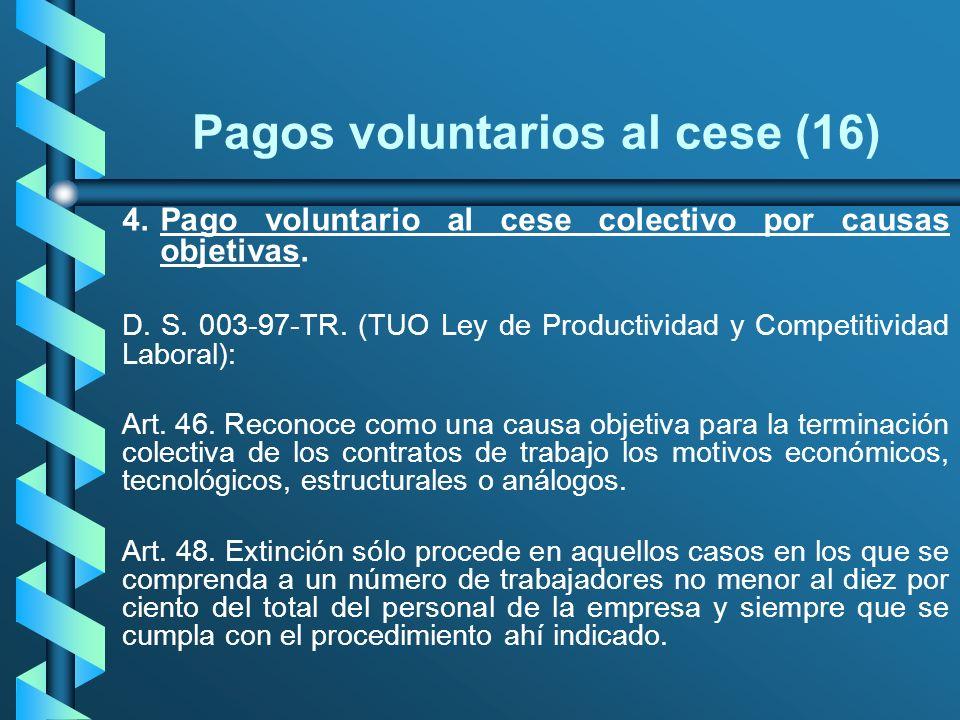 Pagos voluntarios al cese (16) 4.Pago voluntario al cese colectivo por causas objetivas. D. S. 003-97-TR. (TUO Ley de Productividad y Competitividad L