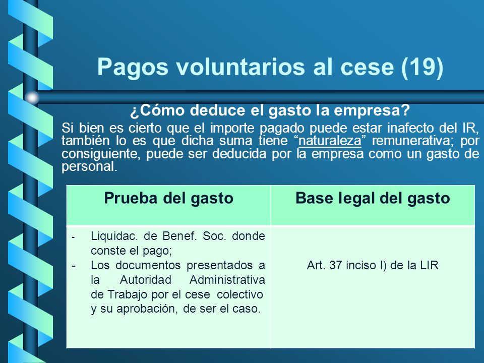 Pagos voluntarios al cese (19) ¿Cómo deduce el gasto la empresa? Si bien es cierto que el importe pagado puede estar inafecto del IR, también lo es qu