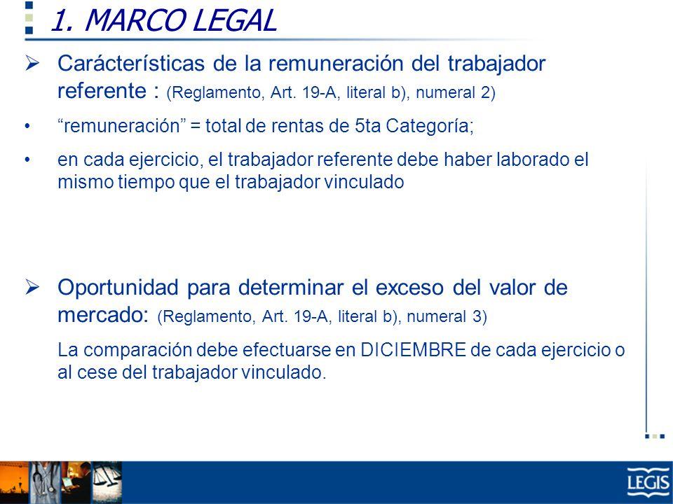 1. MARCO LEGAL Carácterísticas de la remuneración del trabajador referente : (Reglamento, Art. 19-A, literal b), numeral 2) remuneración = total de re