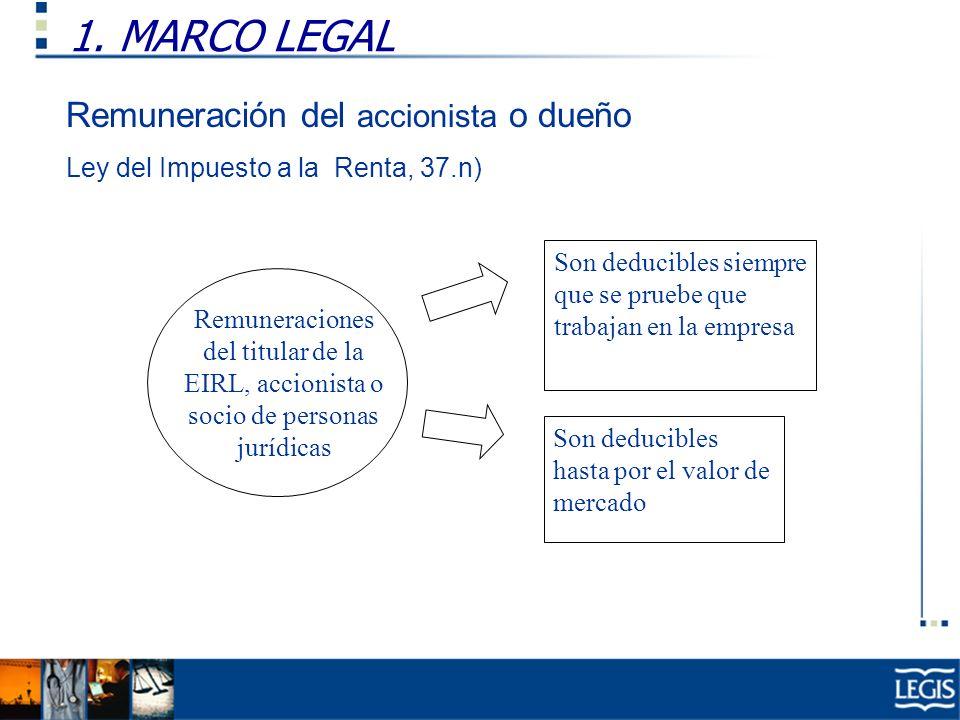 1. MARCO LEGAL Remuneraciones del titular de la EIRL, accionista o socio de personas jurídicas Son deducibles siempre que se pruebe que trabajan en la