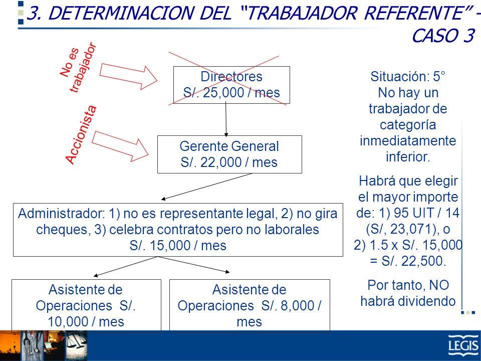 3. DETERMINACION DEL TRABAJADOR REFERENTE – CASO 3 Gerente General S/. 22,000 / mes Administrador: 1) no es representante legal, 2) no gira cheques, 3