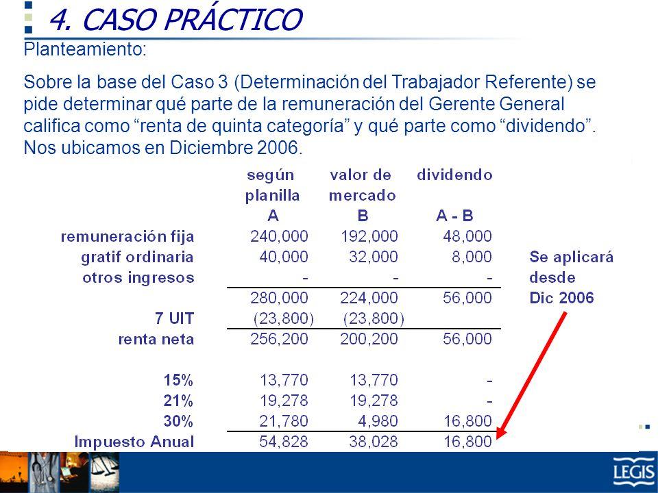 4. CASO PRÁCTICO Ley Imp. Renta, 37.n) Planteamiento: Sobre la base del Caso 3 (Determinación del Trabajador Referente) se pide determinar qué parte d