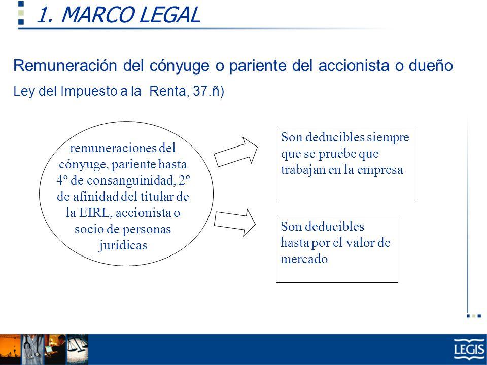 1. MARCO LEGAL remuneraciones del cónyuge, pariente hasta 4º de consanguinidad, 2º de afinidad del titular de la EIRL, accionista o socio de personas