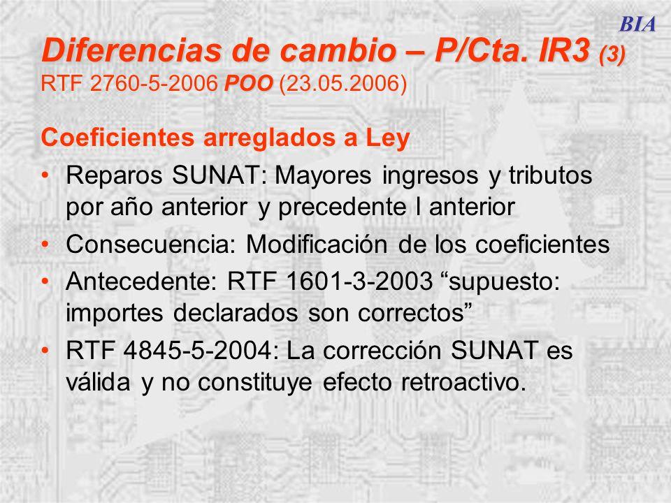 BIA Diferencias de cambio – P/Cta. IR3 (3) POO Diferencias de cambio – P/Cta. IR3 (3) RTF 2760-5-2006 POO (23.05.2006) Coeficientes arreglados a Ley R