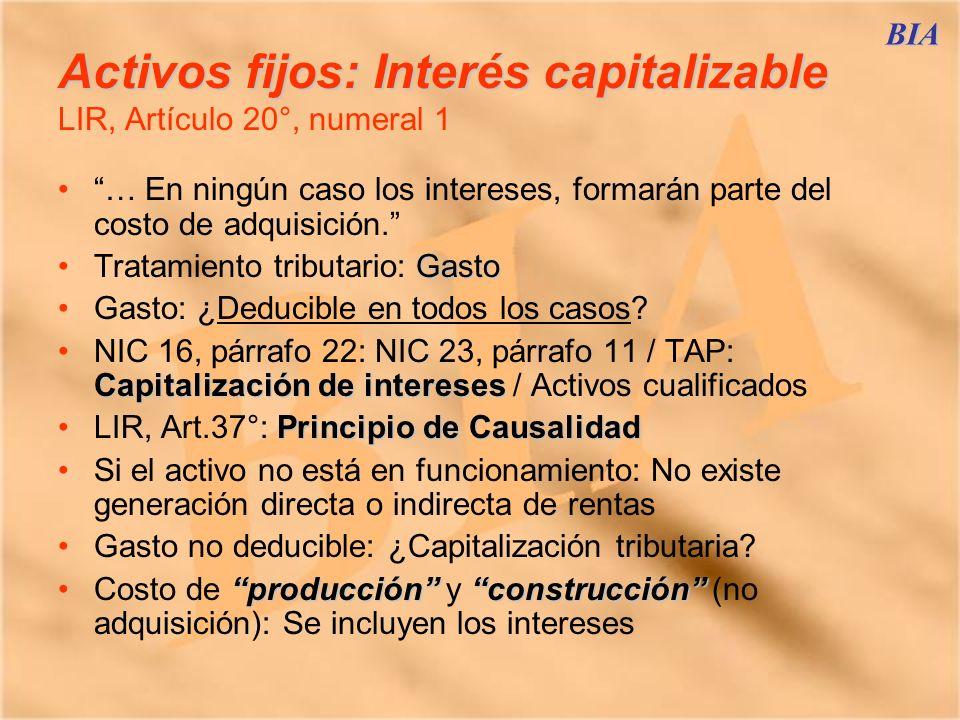 BIA Activos fijos: Interés capitalizable Activos fijos: Interés capitalizable LIR, Artículo 20°, numeral 1 … En ningún caso los intereses, formarán pa