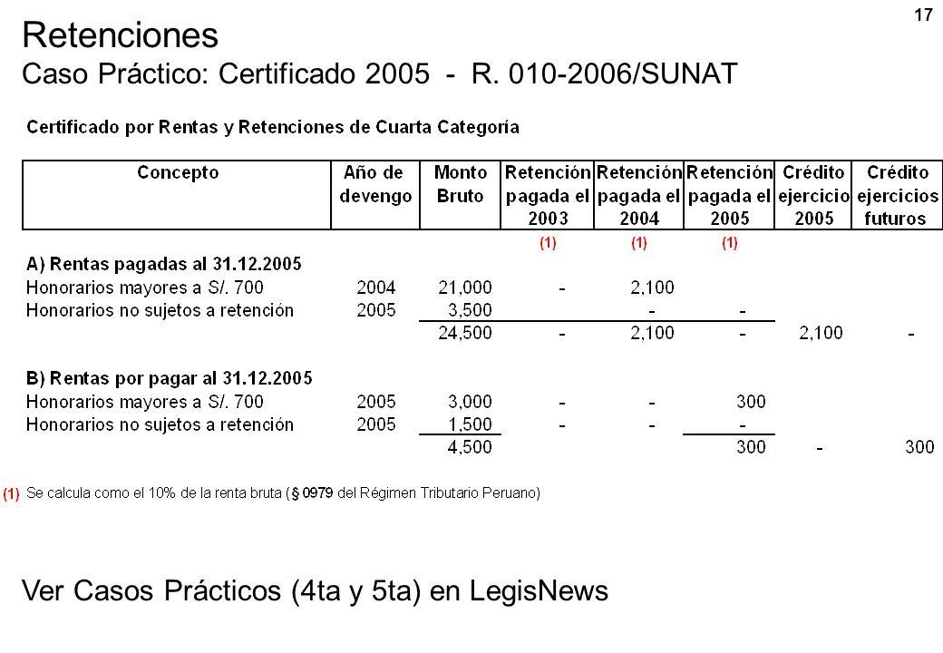 17 Retenciones Caso Práctico: Certificado 2005 - R. 010-2006/SUNAT Ver Casos Prácticos (4ta y 5ta) en LegisNews
