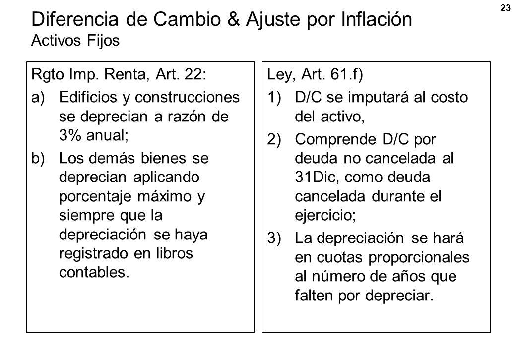 23 Diferencia de Cambio & Ajuste por Inflación Activos Fijos Rgto Imp. Renta, Art. 22: a)Edificios y construcciones se deprecian a razón de 3% anual;