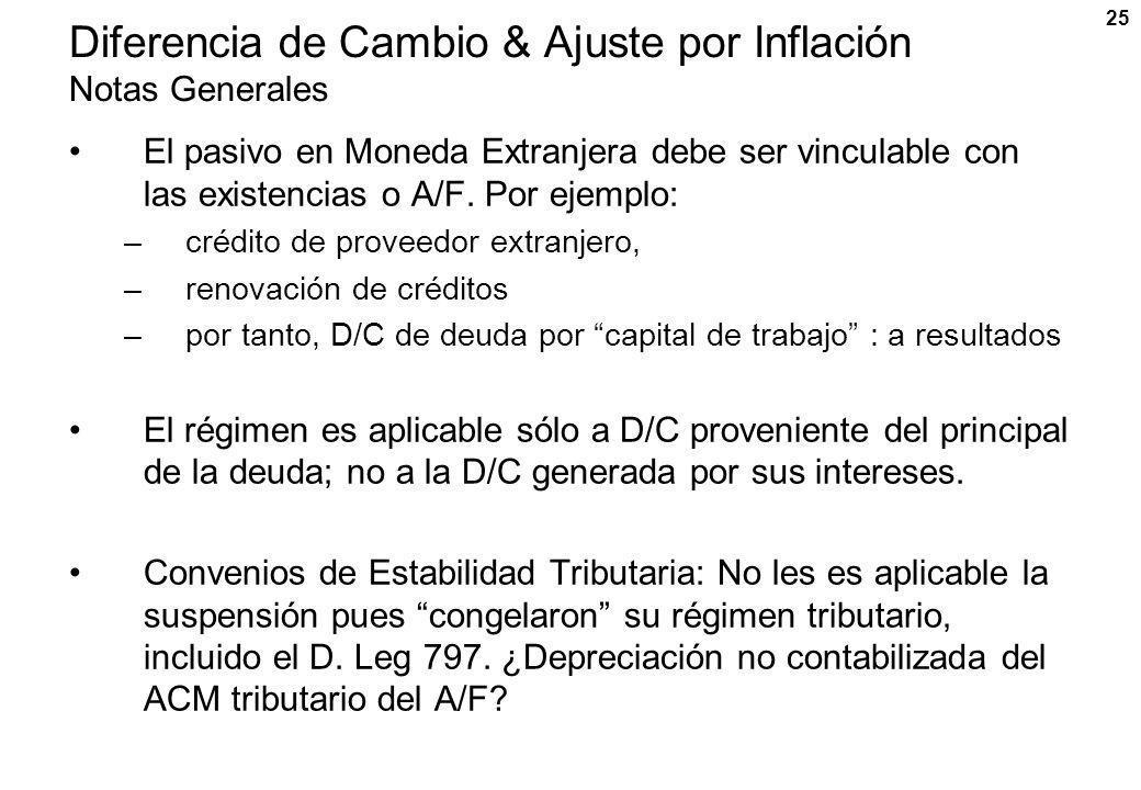 25 Diferencia de Cambio & Ajuste por Inflación Notas Generales El pasivo en Moneda Extranjera debe ser vinculable con las existencias o A/F. Por ejemp