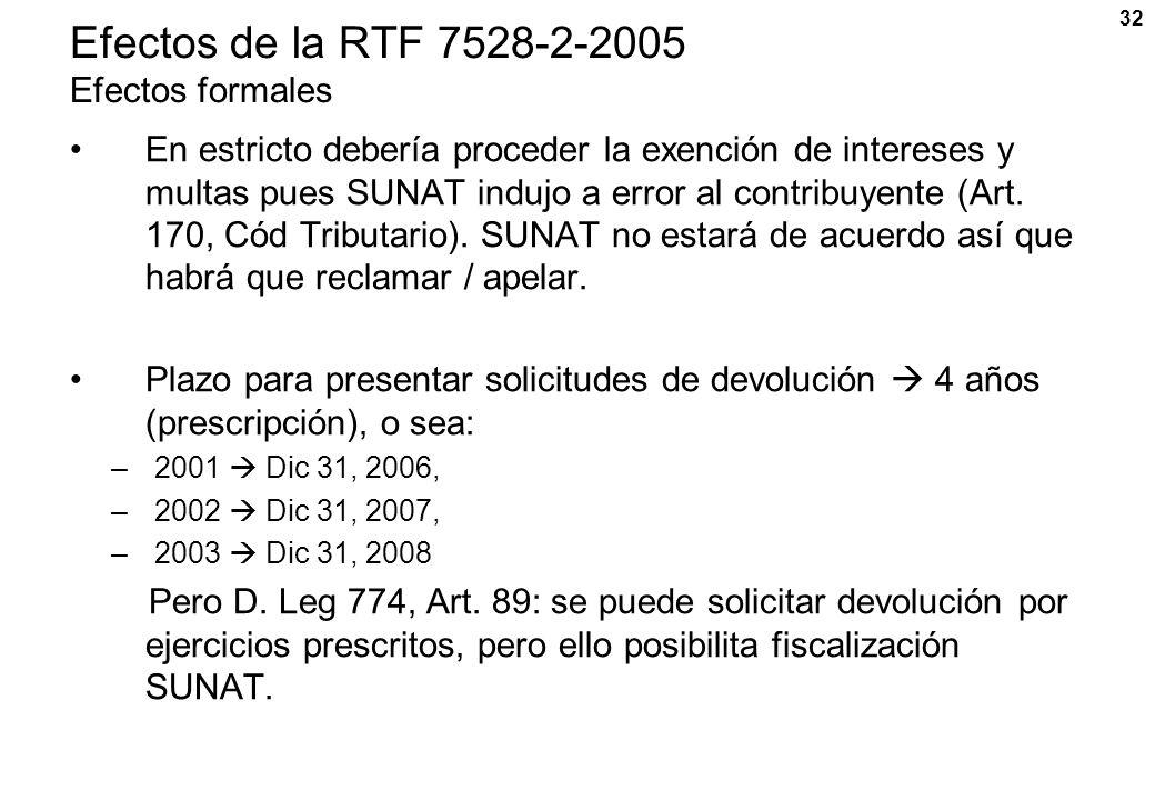 32 Efectos de la RTF 7528-2-2005 Efectos formales En estricto debería proceder la exención de intereses y multas pues SUNAT indujo a error al contribu