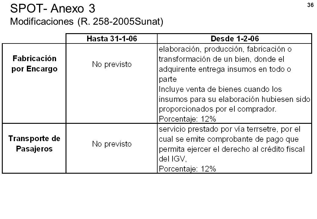 36 SPOT- Anexo 3 Modificaciones (R. 258-2005Sunat)